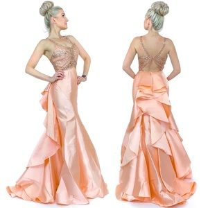 Pink Peach Beaded Mermaid Pageant Gown Prom Dress